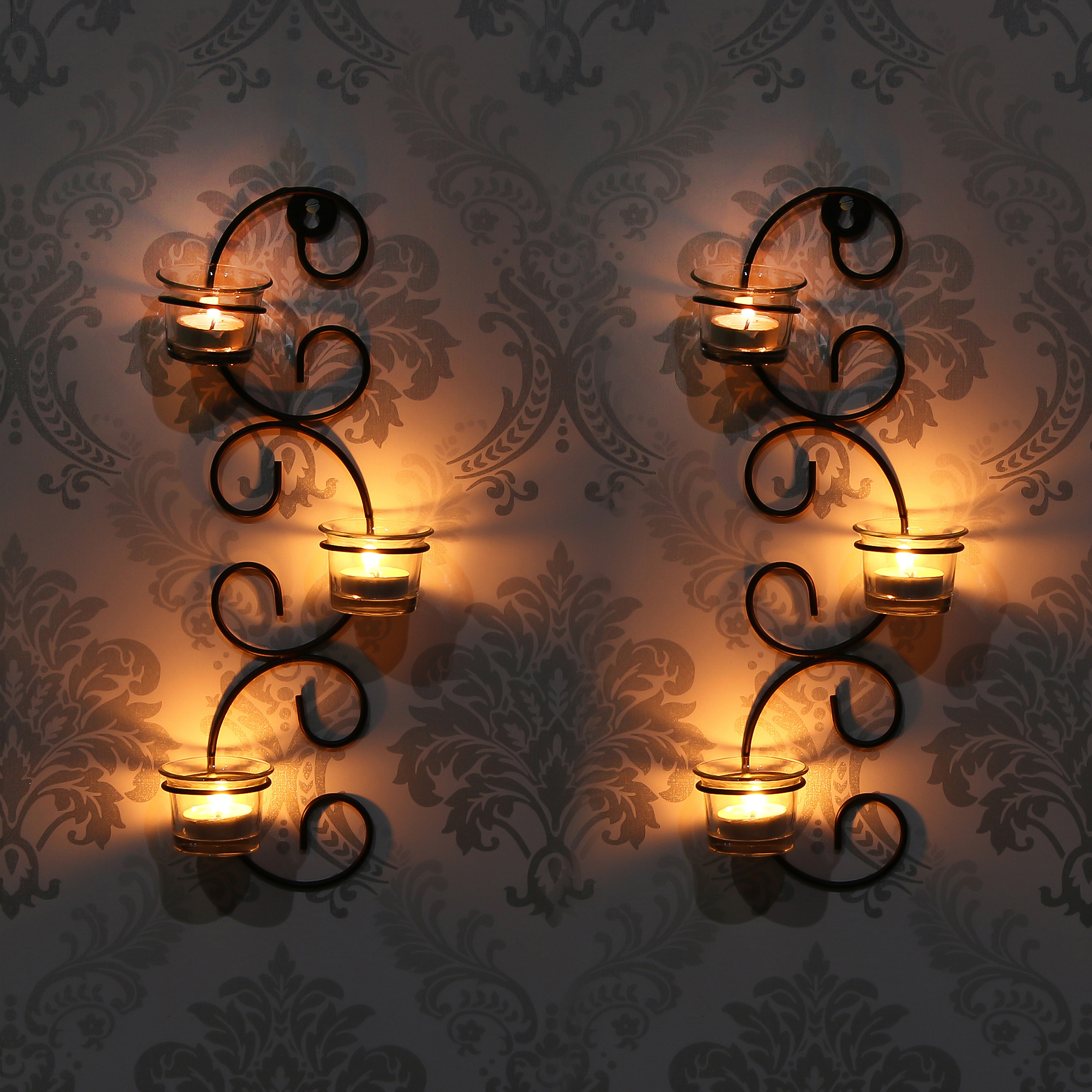 Set of 2 Wall sconces with 6 Glass Cup Tea Light Holder Indian Home Decor