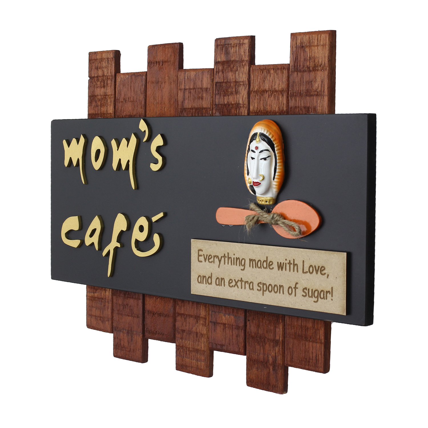 Wooden Moms Cafe Wall Hanging Decorative Showpiece Indian Home Decor