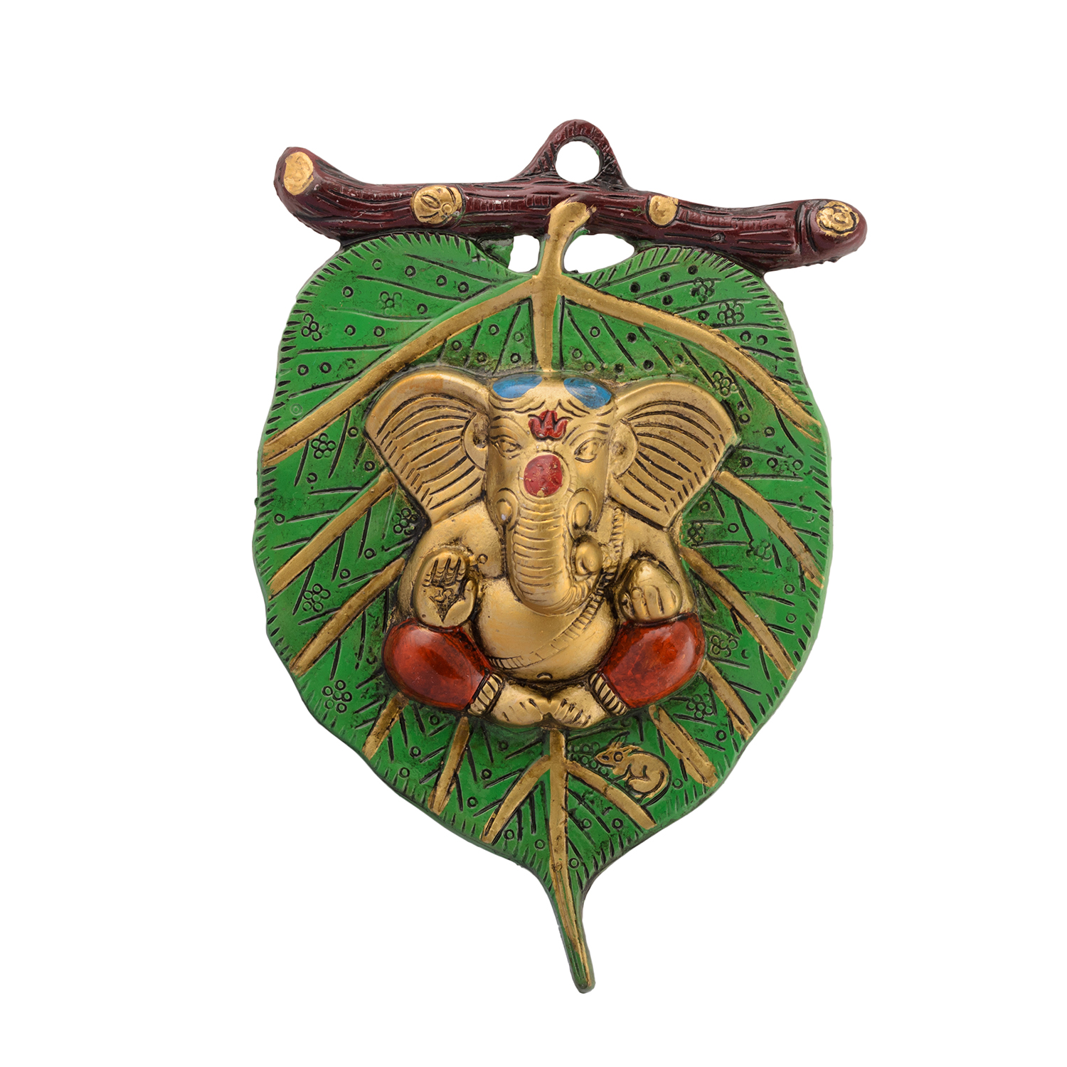 Lord Ganesha in Red Dhoti on Green Leaf Wall Hanging Indian Home Decor