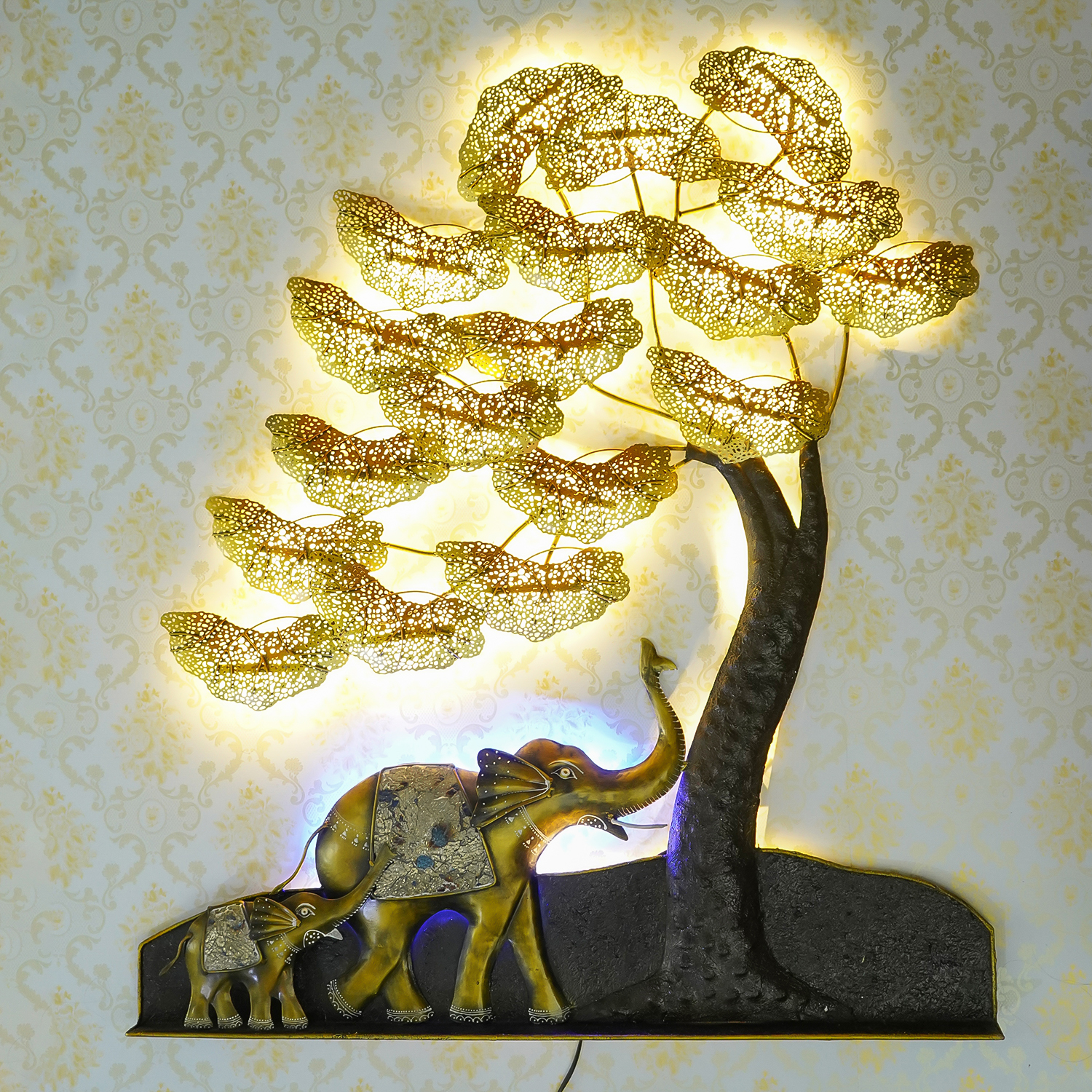 Elephant Family Under Golden Leaves Tree Handcrafted Iron Wall Hanging with background LEDs Indian Home Decor