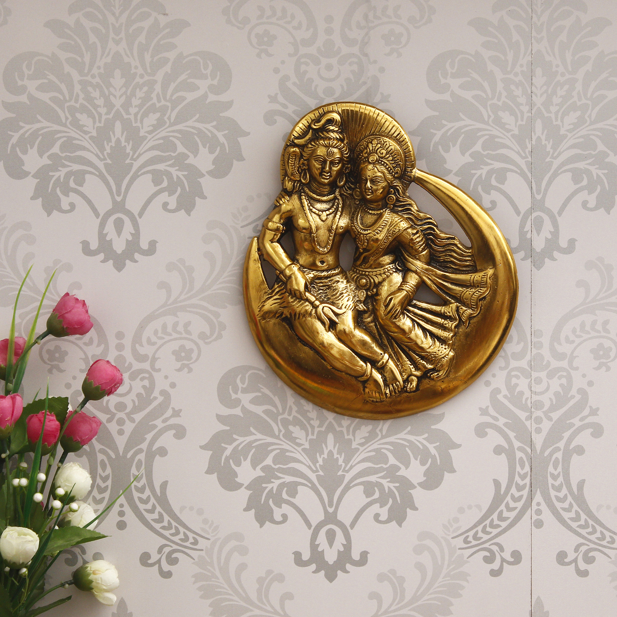 Golden Shiva Parvati Idol Metal Decorative Wall Hanging Showpiece Indian Home Decor