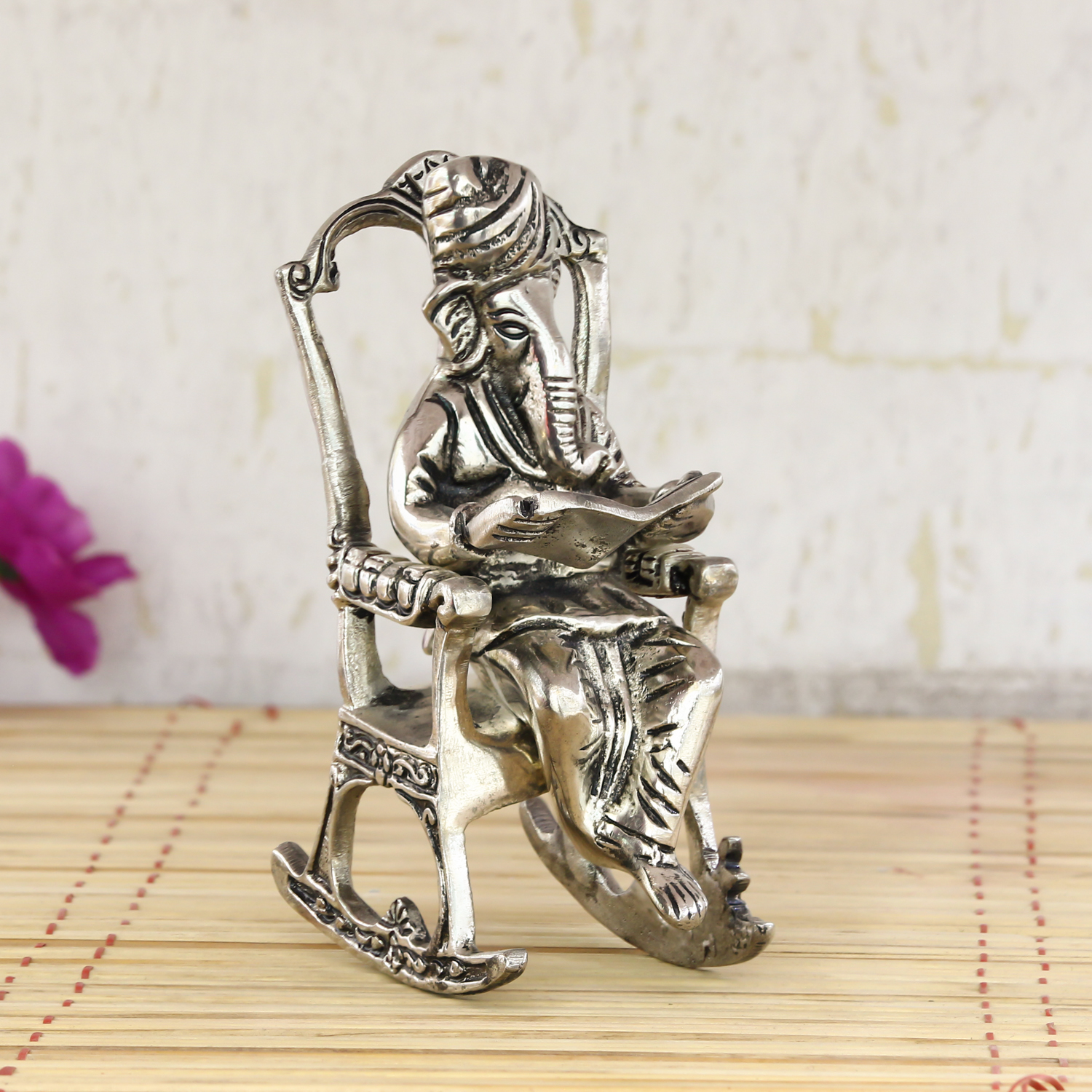 Lord Ganesha on Rocking Chair Antique Showpiece Indian Home Decor