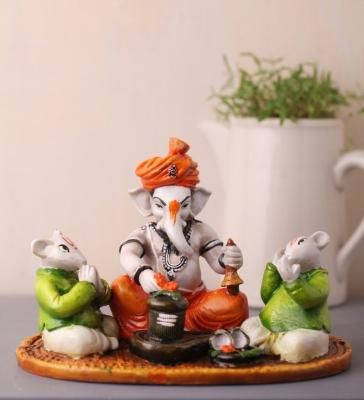 Lord Ganesha performing Shiva Pooja with 2 Rats Indian Home Decor