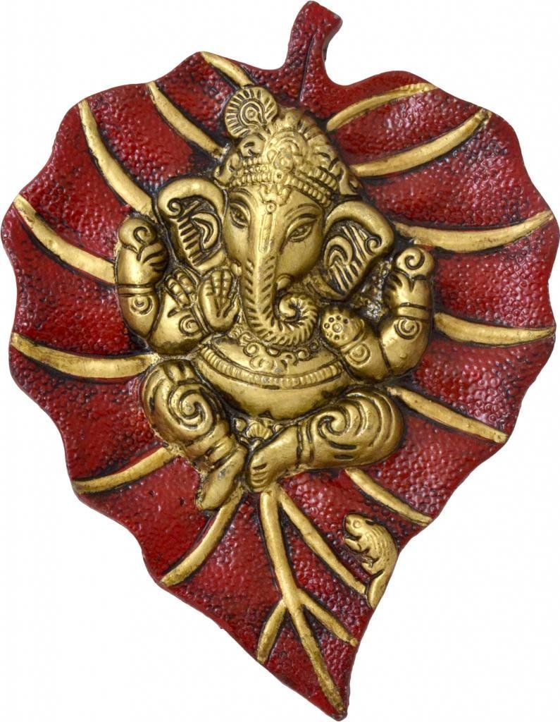 Lord Ganesha on Red Leaf Indian Home Decor