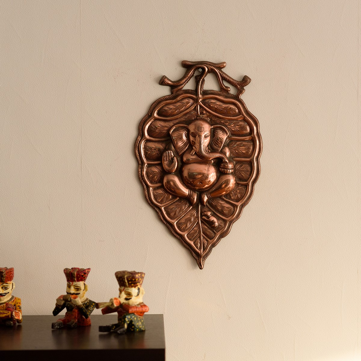 Lord Ganesha on Leaf Metal Wall Hanging Indian Home Decor