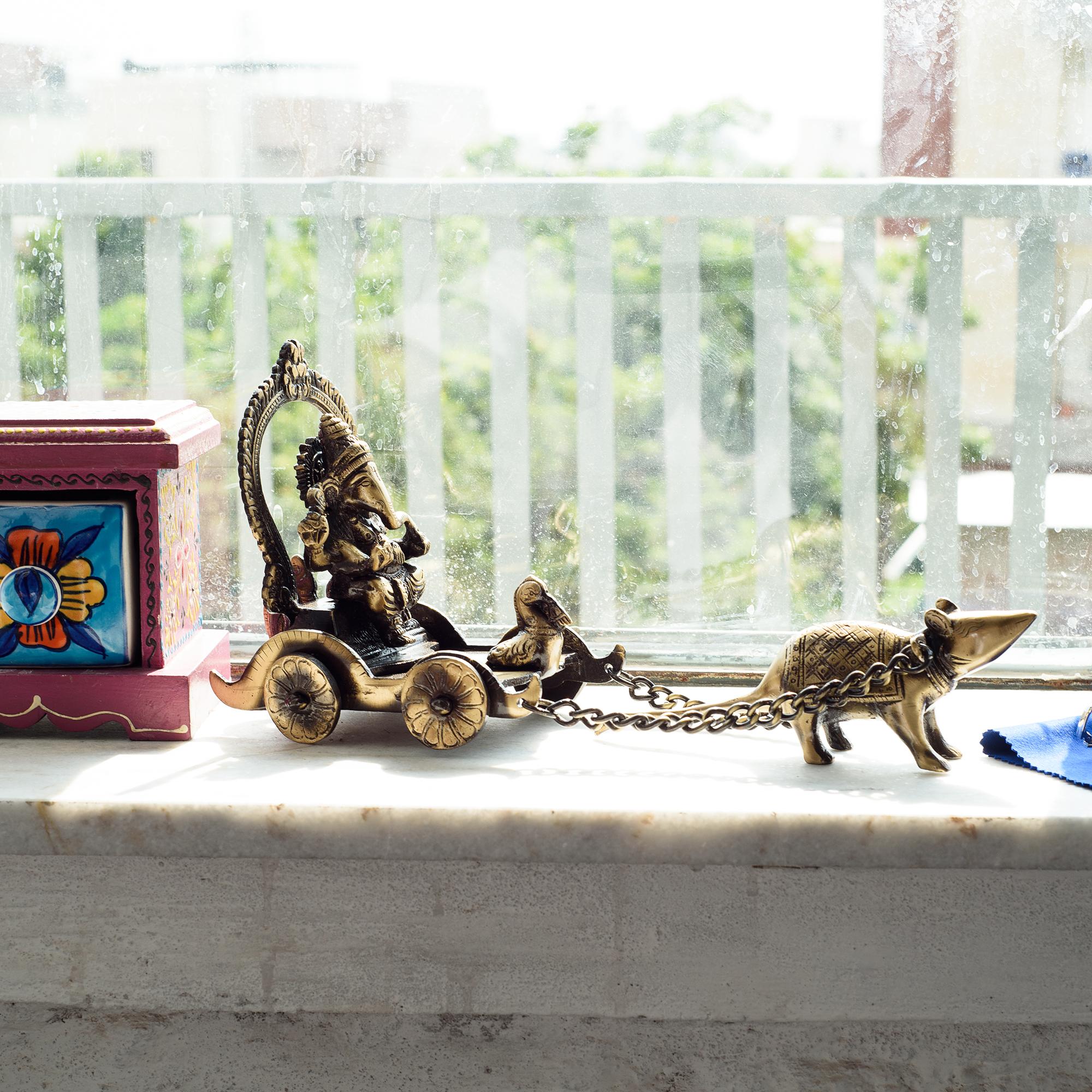 Brass Lord Ganesha Savari on Rat Antique Showpiece Indian Home Decor