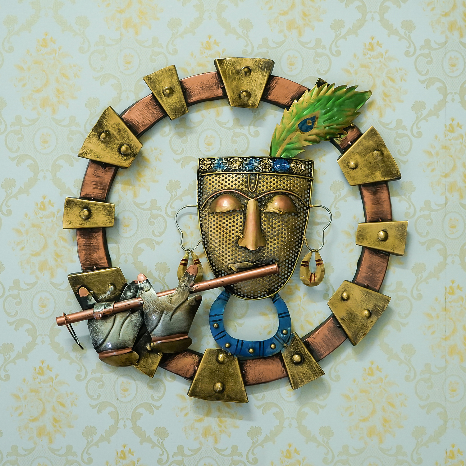 Lord Krishna Playing Flute Handcrafted Iron Wall Hanging Indian Home Decor