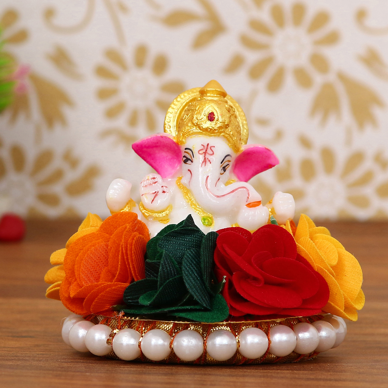 Lord Ganesha Idol on Decorative Handcrafted Plate with Colorful Flowers Indian Home Decor
