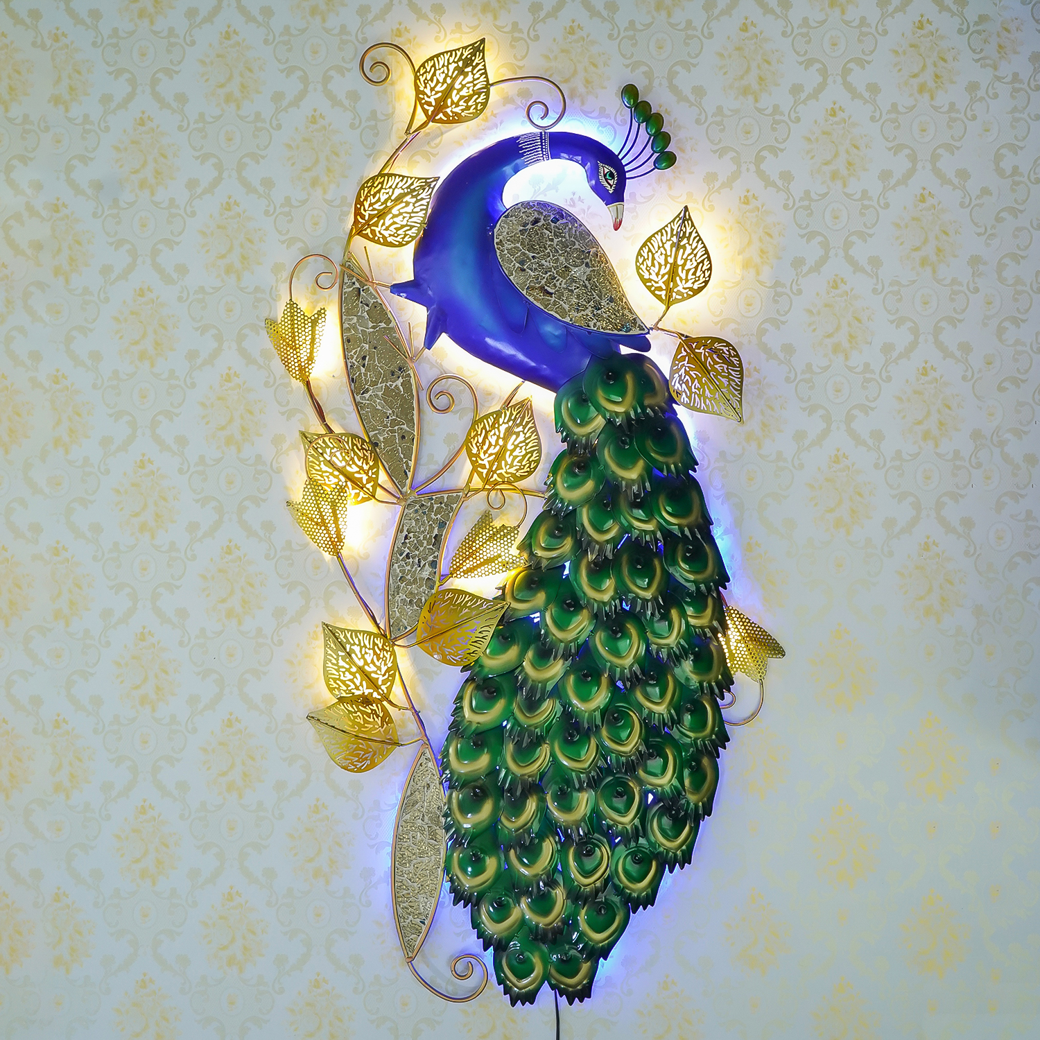 Decorative Colorful Peocock Handcrafted Iron Wall Hanging with background LEDs Indian Home Decor