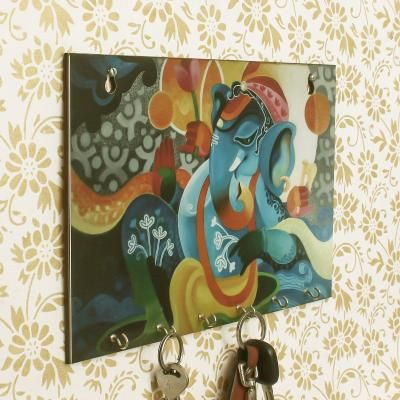 Lord Ganesha Theme Wooden Key Holder with 6 Hooks Indian Home Decor