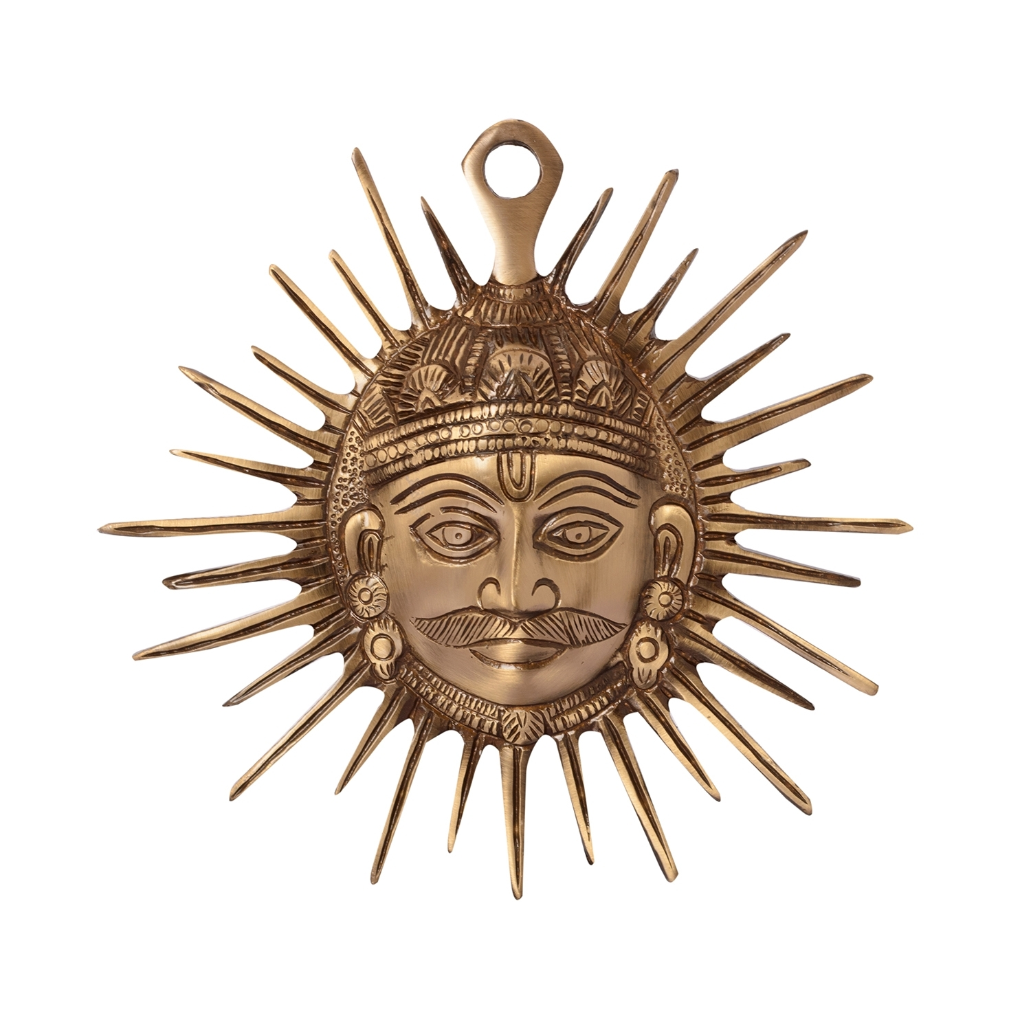 Smiling Surya Brass Wall Hanging Indian Home Decor