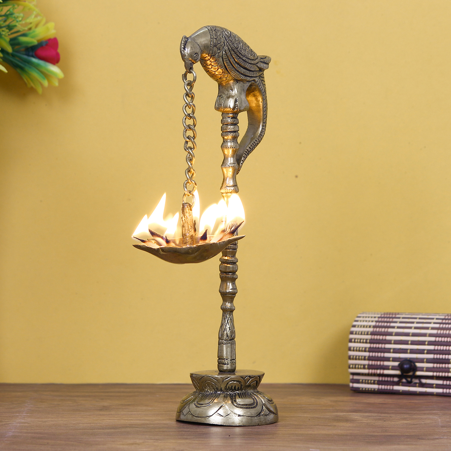 Decorative Handcrafted Brass Parrot Showpiece Diya for 7 wicks with Stand Indian Home Decor