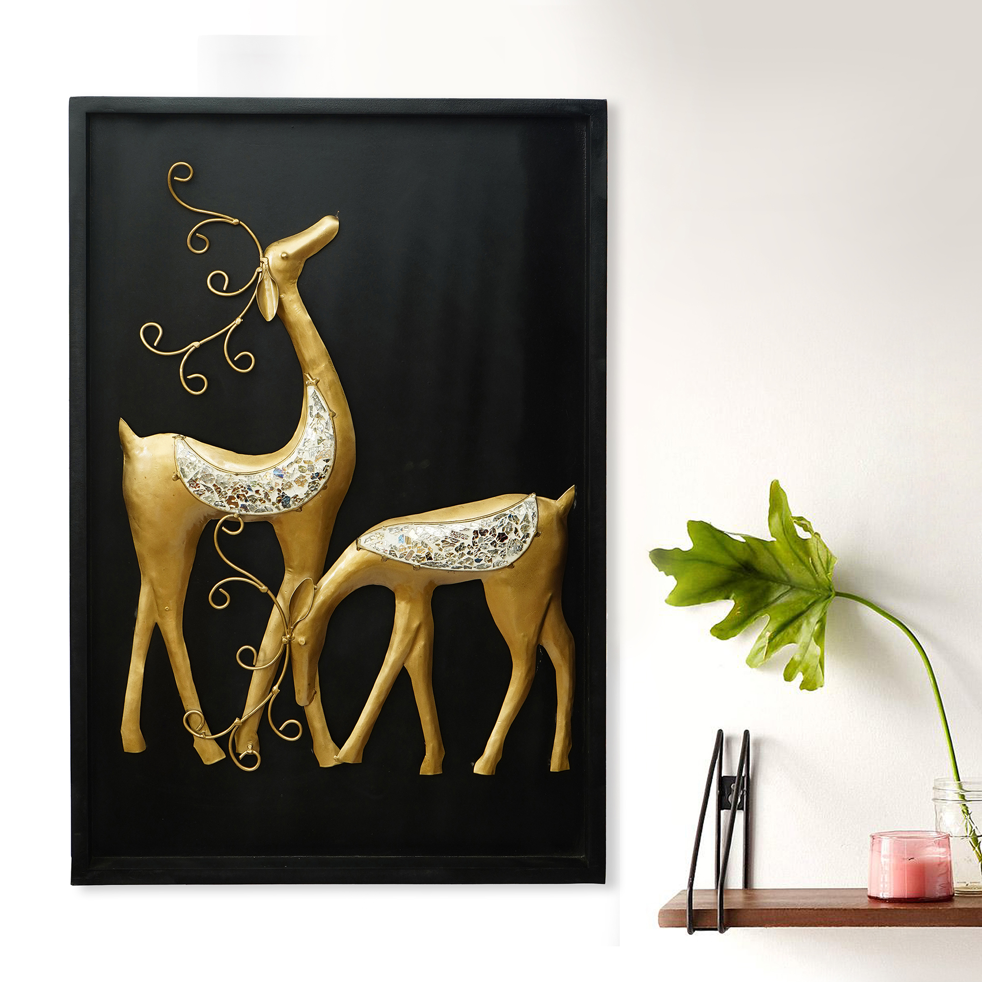 Golden Deer with Wooden Frame Handcrafted Wall Hanging Indian Home Decor