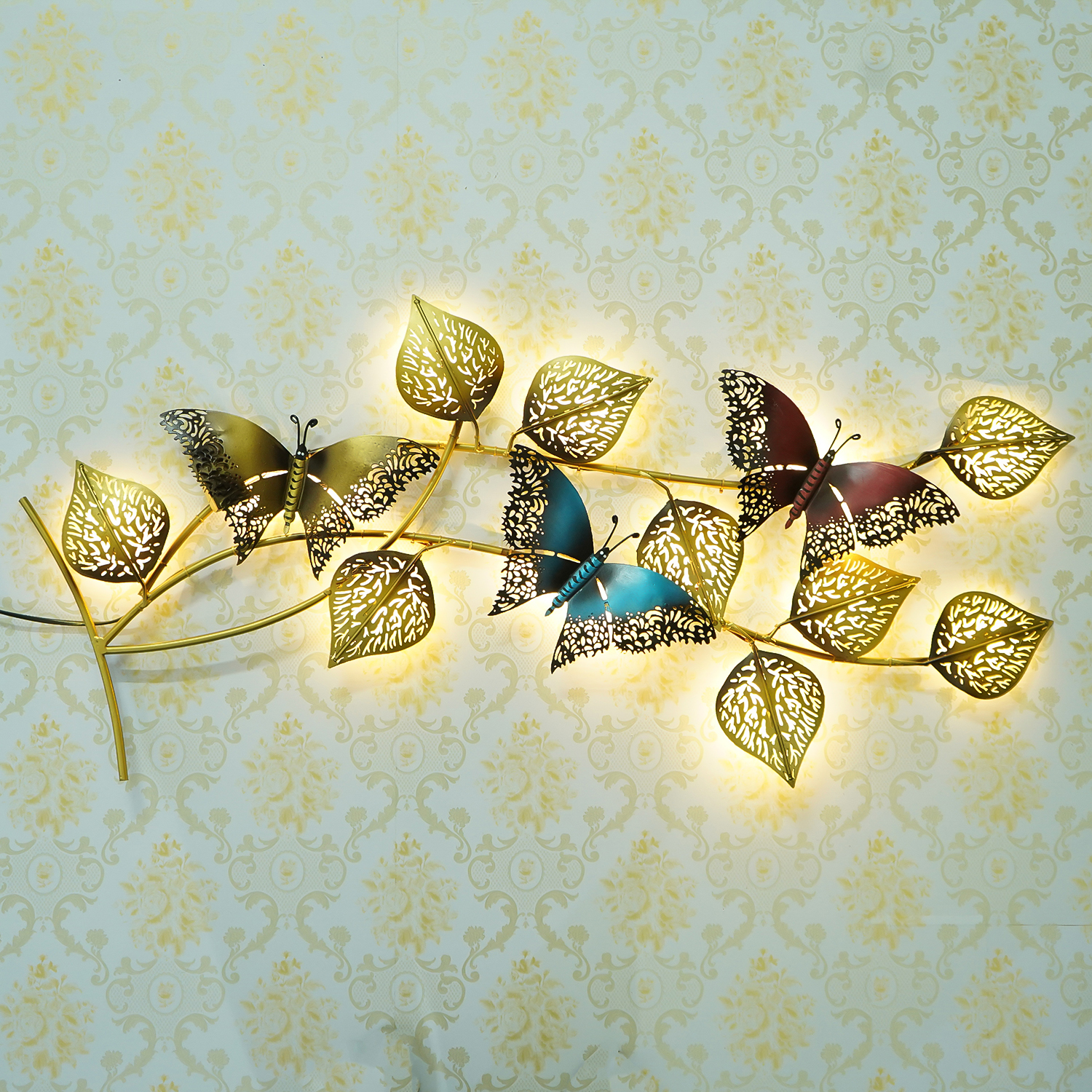Decorative Leaves and Butterfly Design Handcrafted Iron Wall Hanging with background LEDs Indian Home Decor