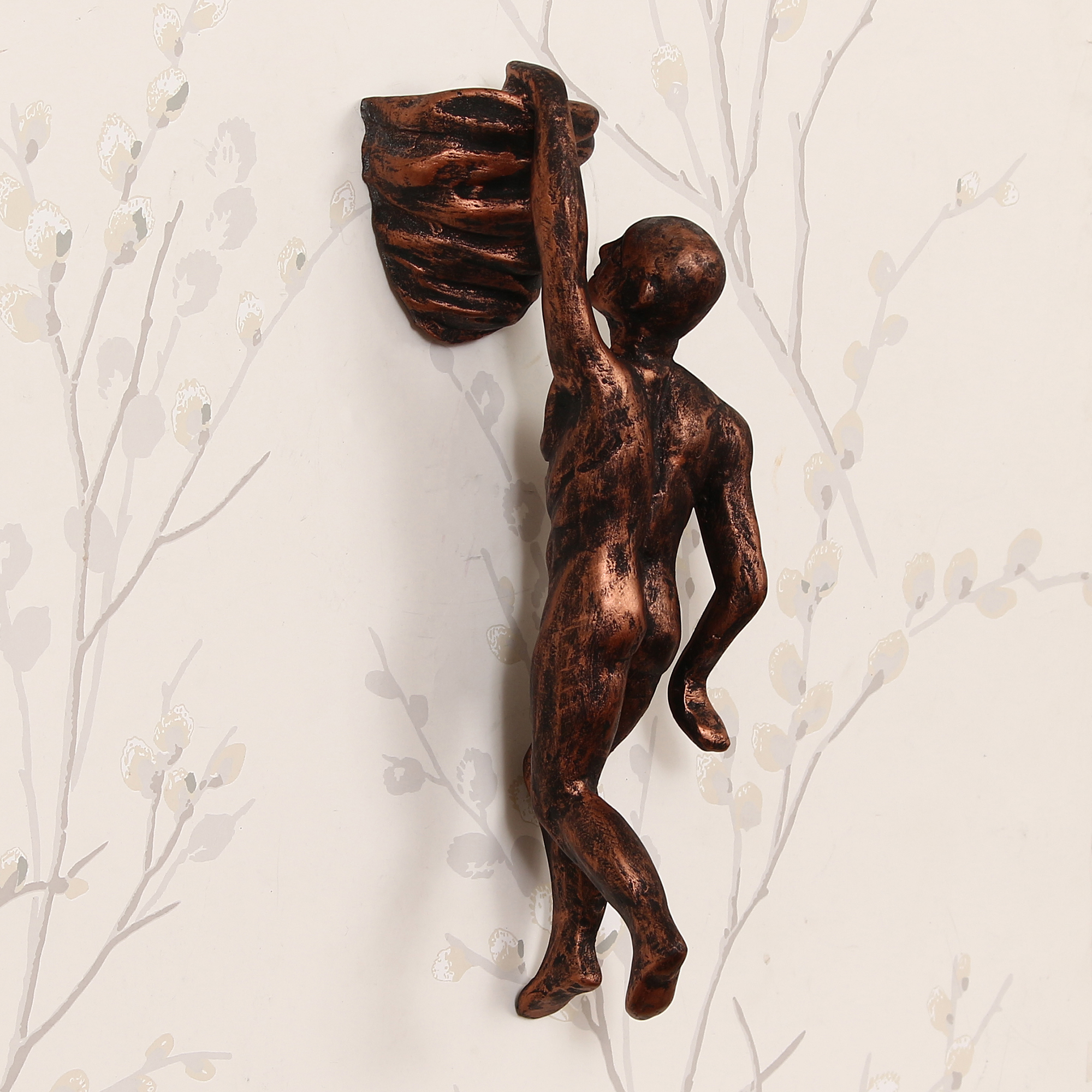 Man Doing Mountain Climbing Decorative Wall Hanging Statue Indian Home Decor