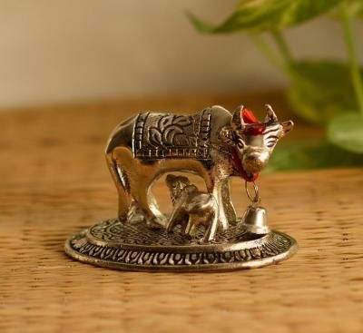 Handcrafted Cow and Calf Figurine Indian Home Decor