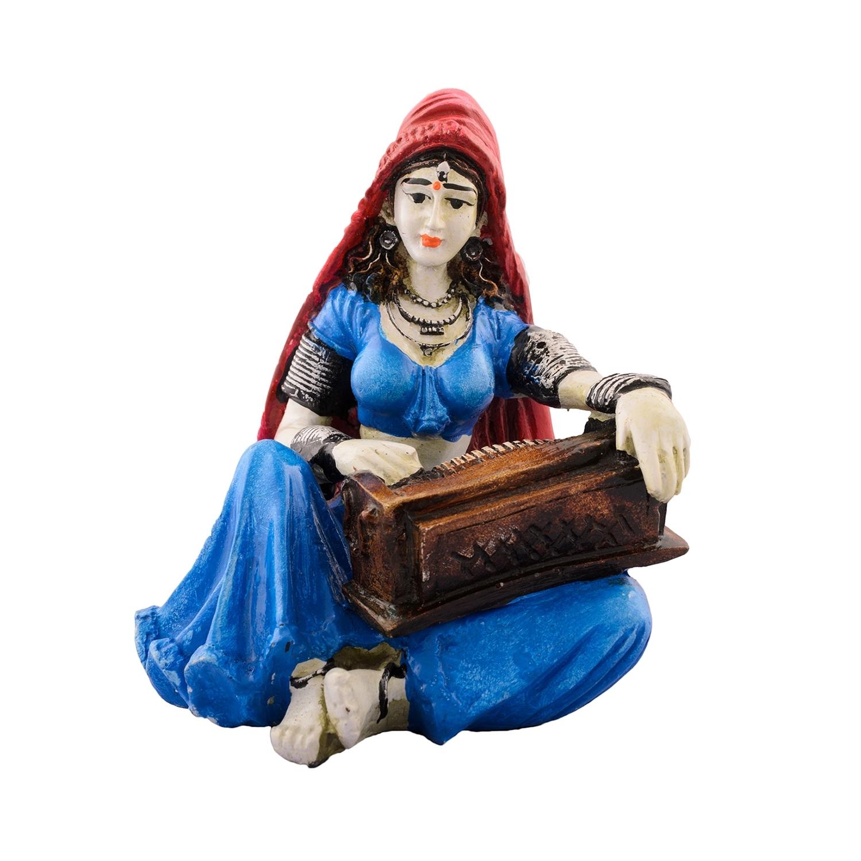 Polyresin Rajasthani Lady Playing Harmonium Showpiece Indian Home Decor