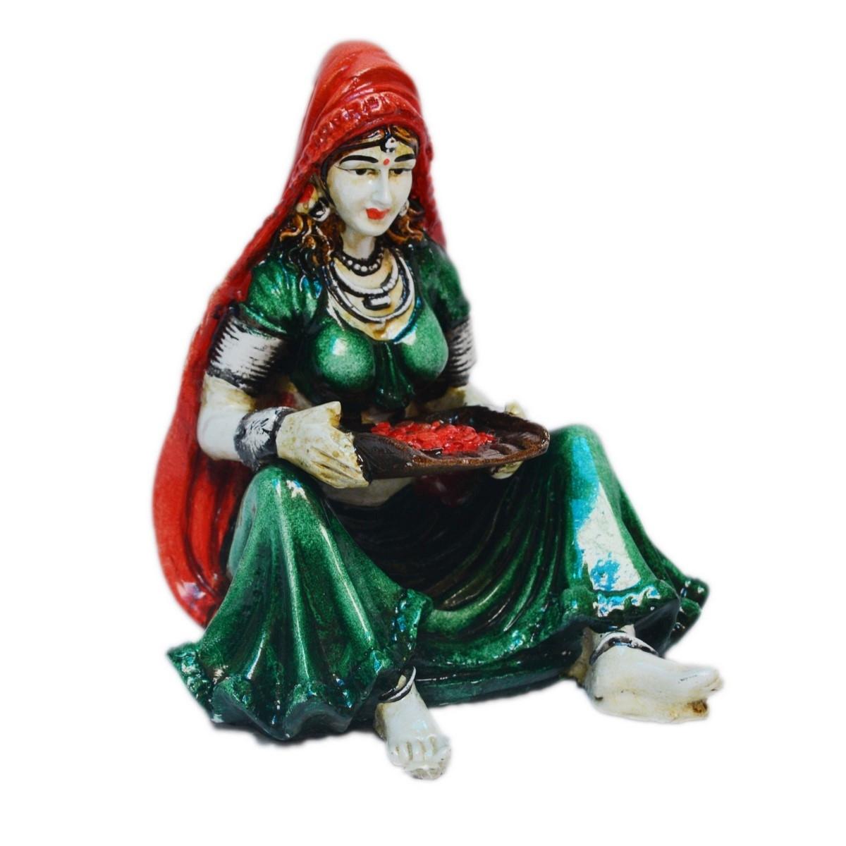 Polyresin Rajasthani Lady Showpiece Indian Home Decor