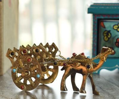 Gemstone Studded Pure Brass Camel Cart Handicraft Indian Home Decor