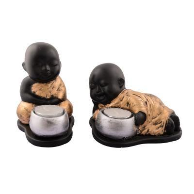 Set of 2 Golden Monks Polyresin Tealight Holder Indian Home Decor