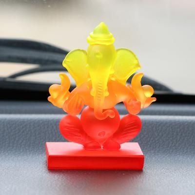 Yellow and Orange Double Sided Crystal Car Ganesha Showpiece Indian Home Decor