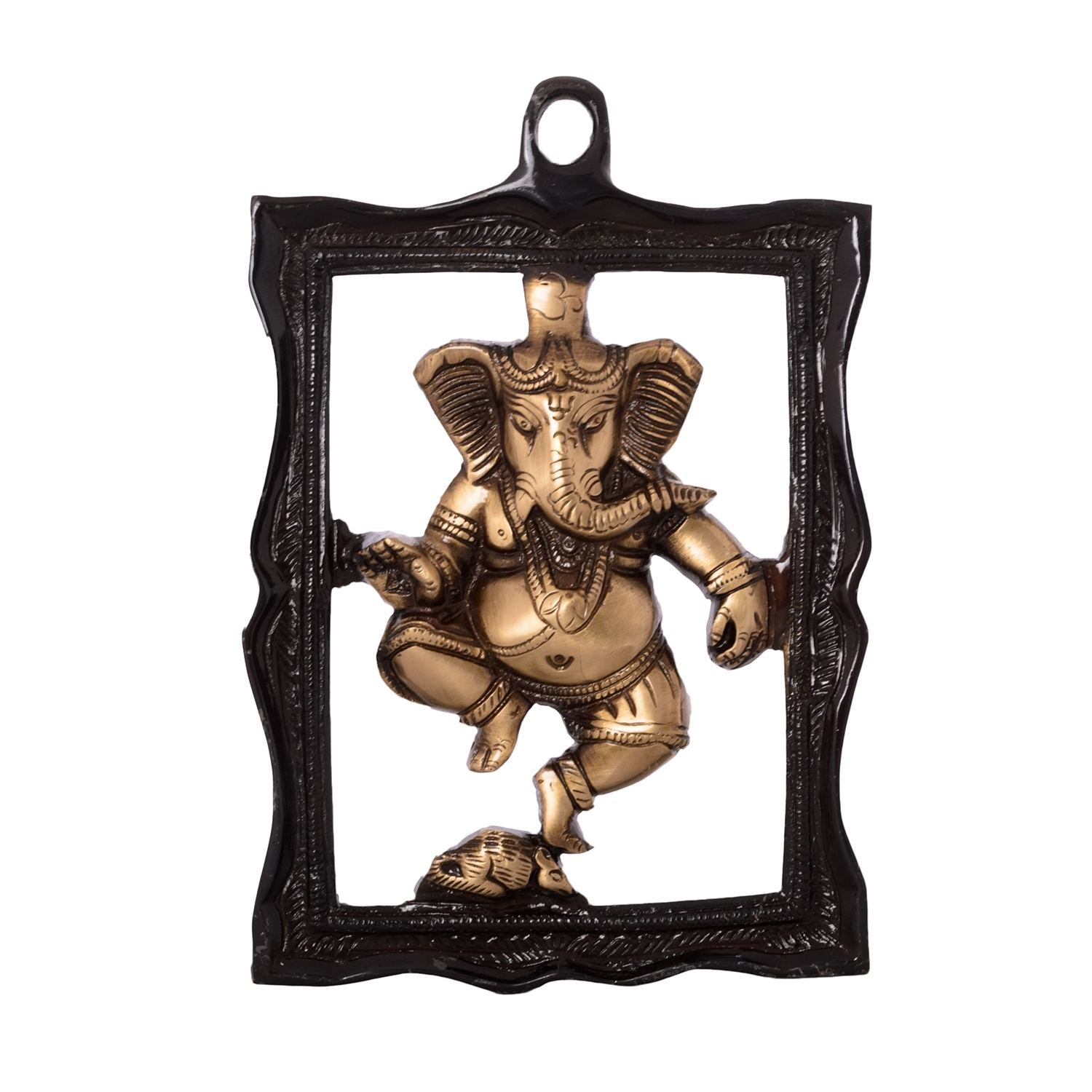 Ganesha in Frame Brass Wall Hanging Indian Home Decor