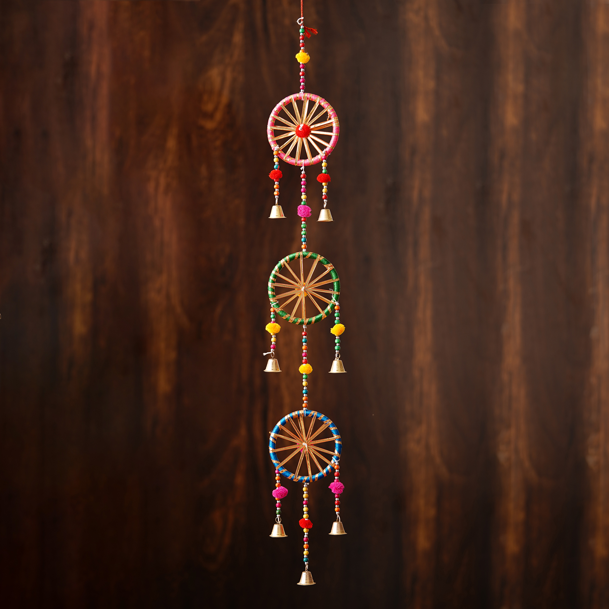 Handcrafted Decorative Colorful Cicles with Gota Patti Wall/Door/Window Hanging Bells Indian Home Decor