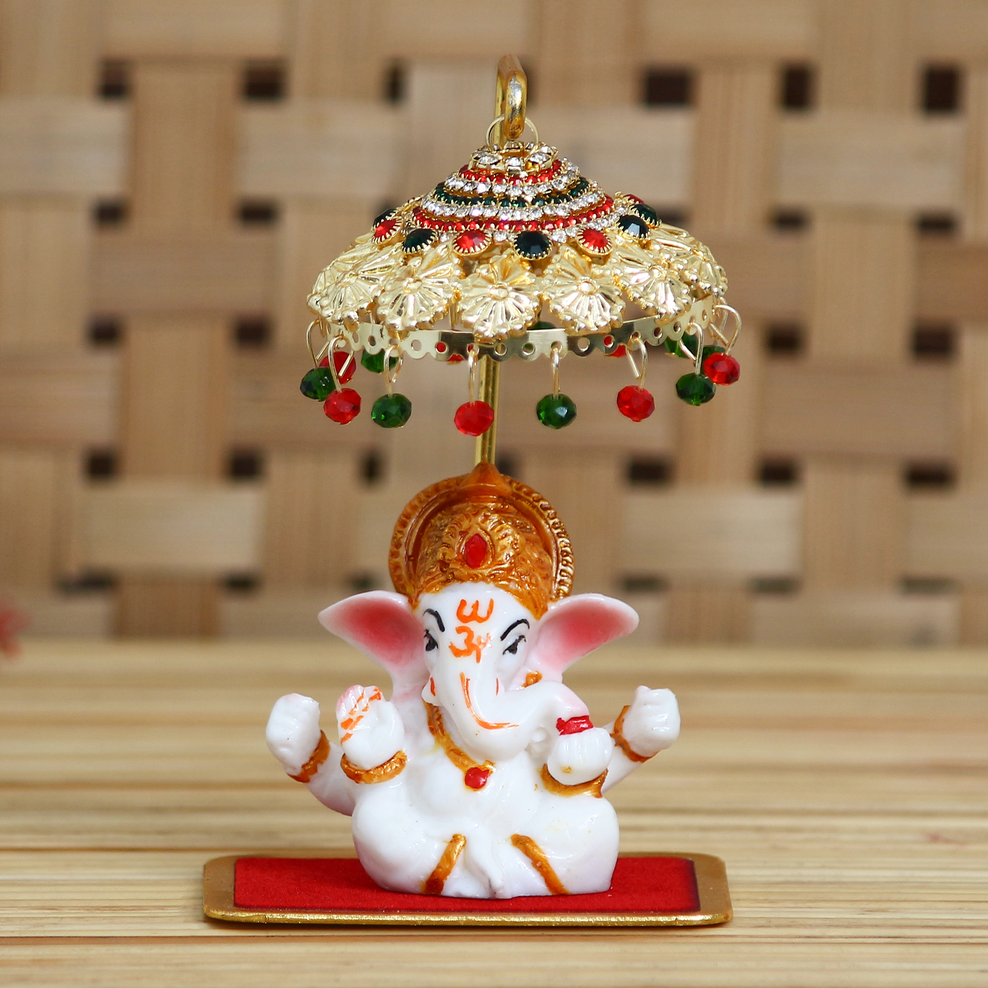 Decorative Lord Ganesha Idol with Designer Chatri for Car Dashboard, Home Temple and Office Desks Indian Home Decor