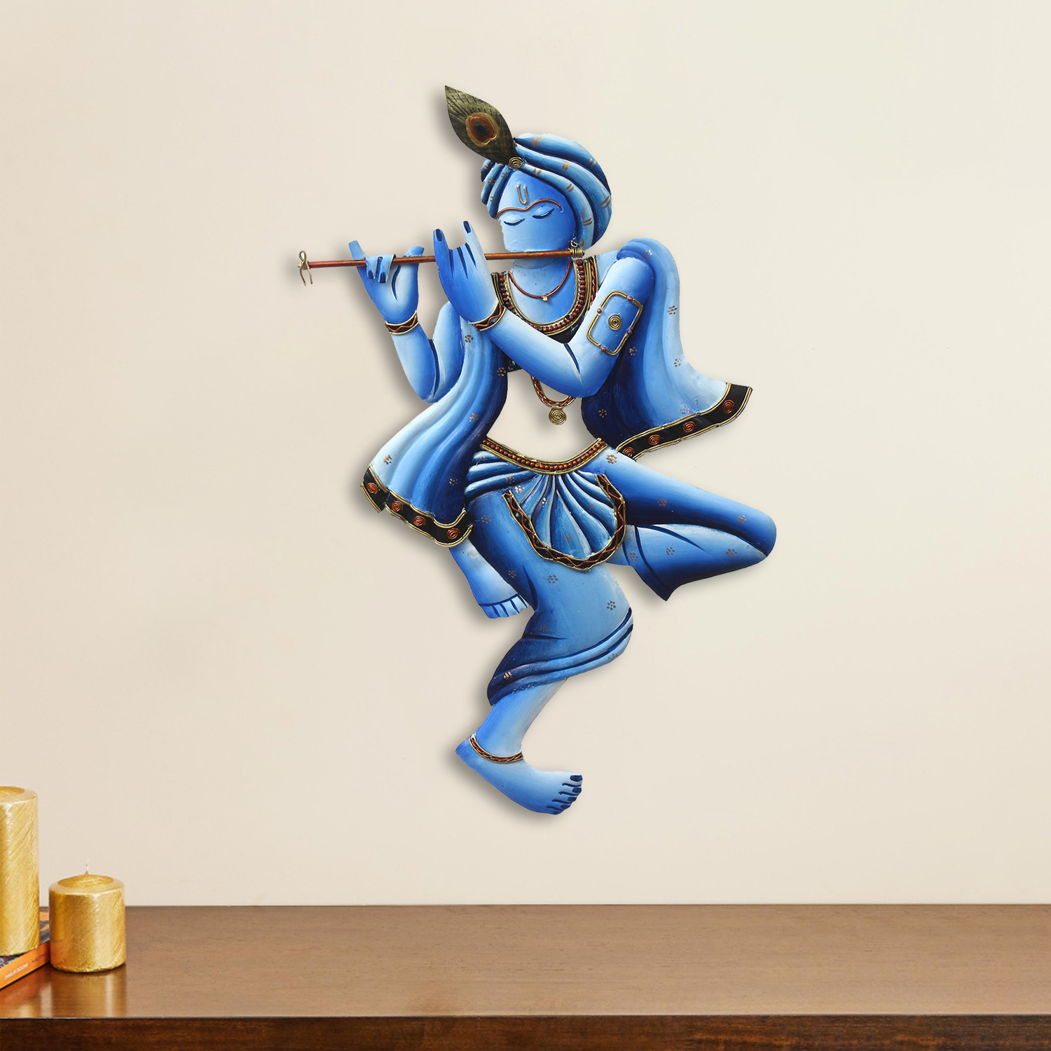 Blue Lord Krishna Playing Flute Handcrafted Decorative Iron Wall Hanging Indian Home Decor