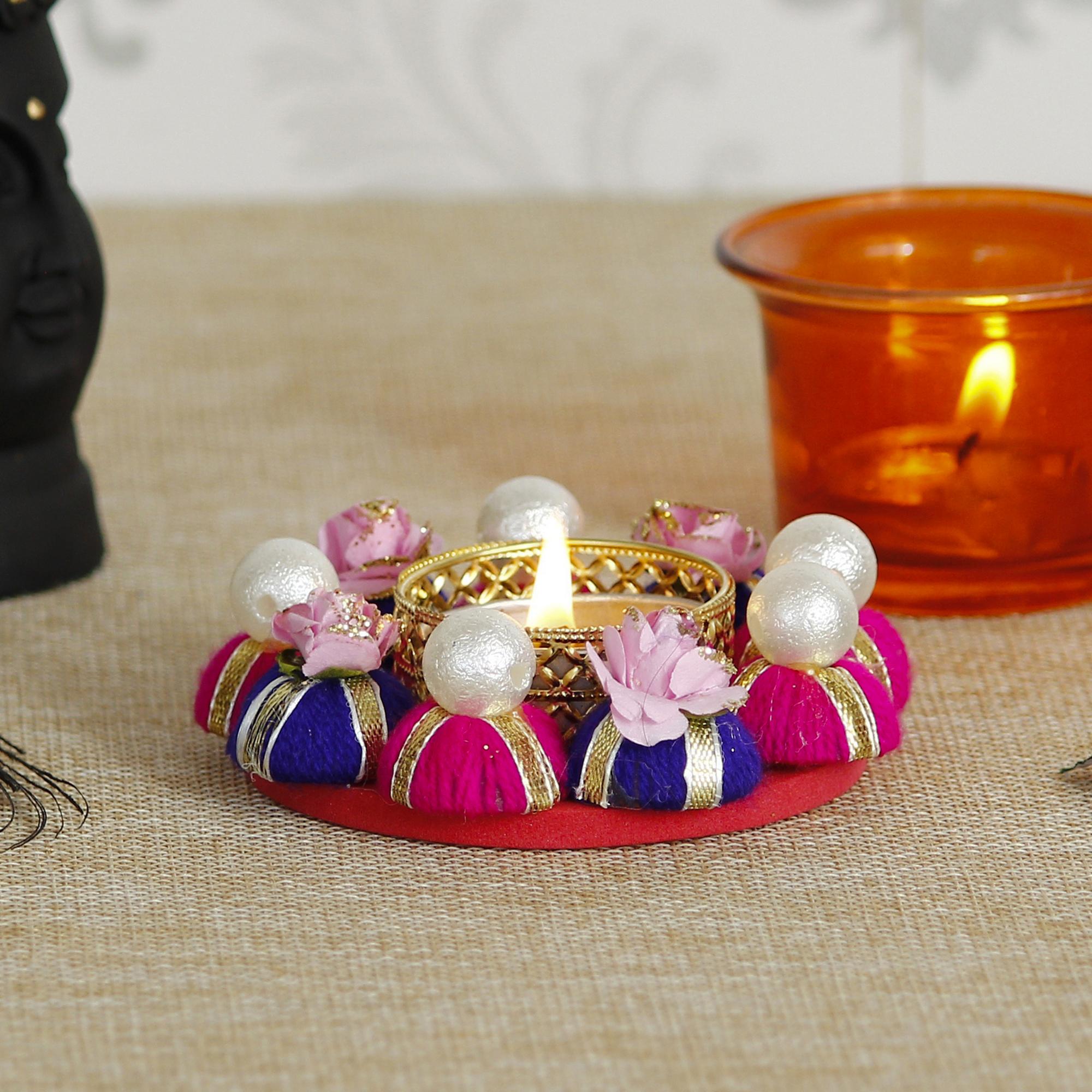 Decorative Handcrafted Gota Patti Work Tea Light Holder Indian Home Decor