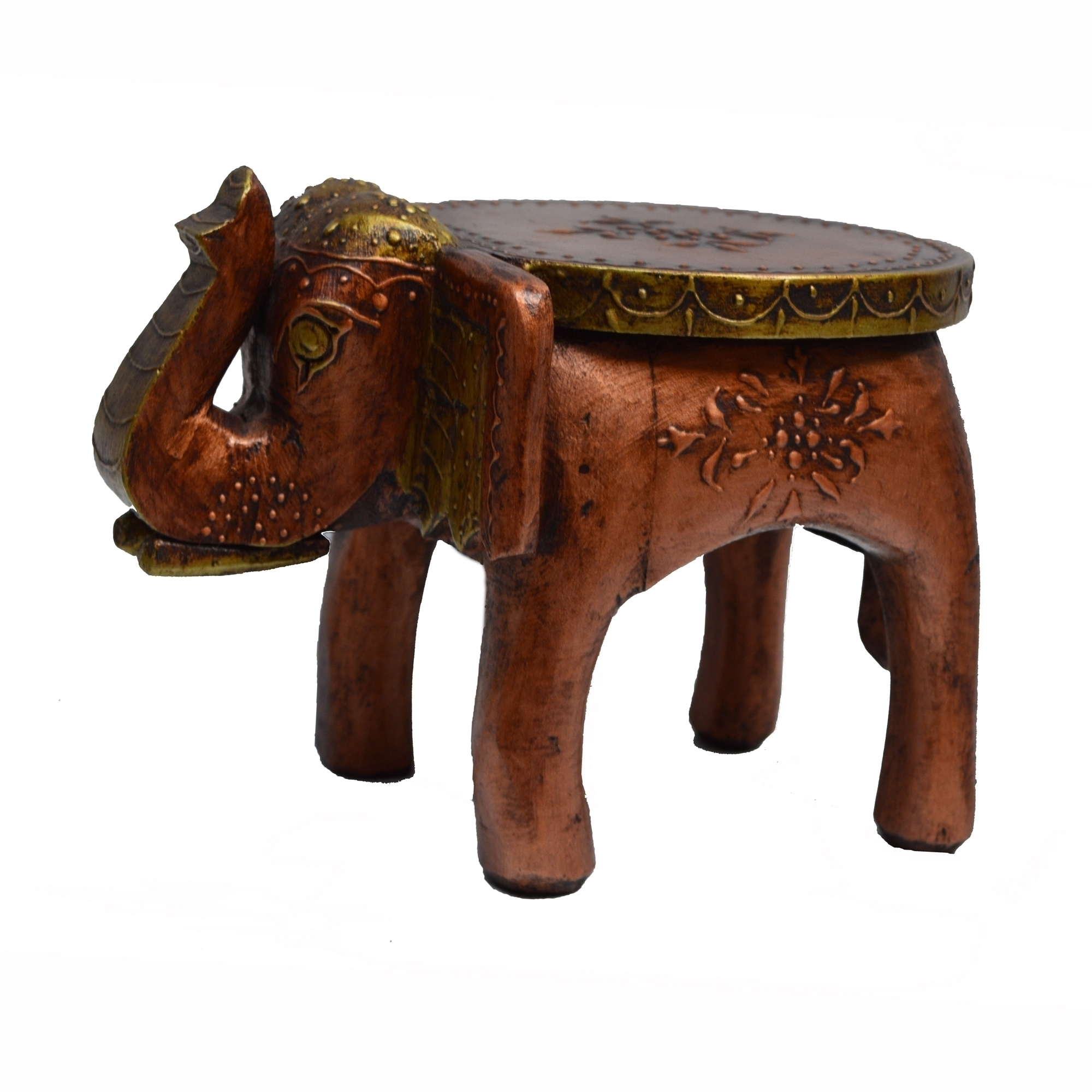 Wooden Elephant Stool for Decoratives Indian Home Decor