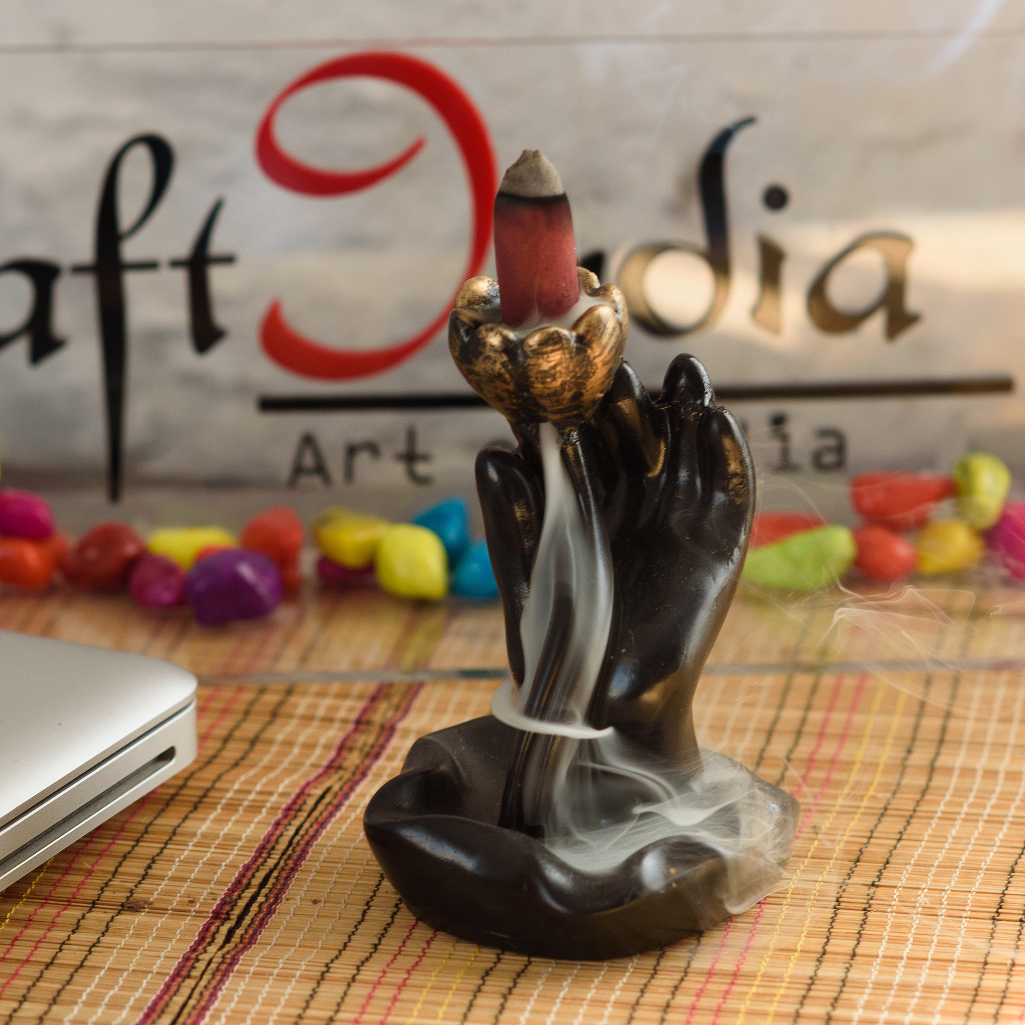 Smoke Fountain with 10 Backflow Cone Decorative Incense Holder Indian Home Decor