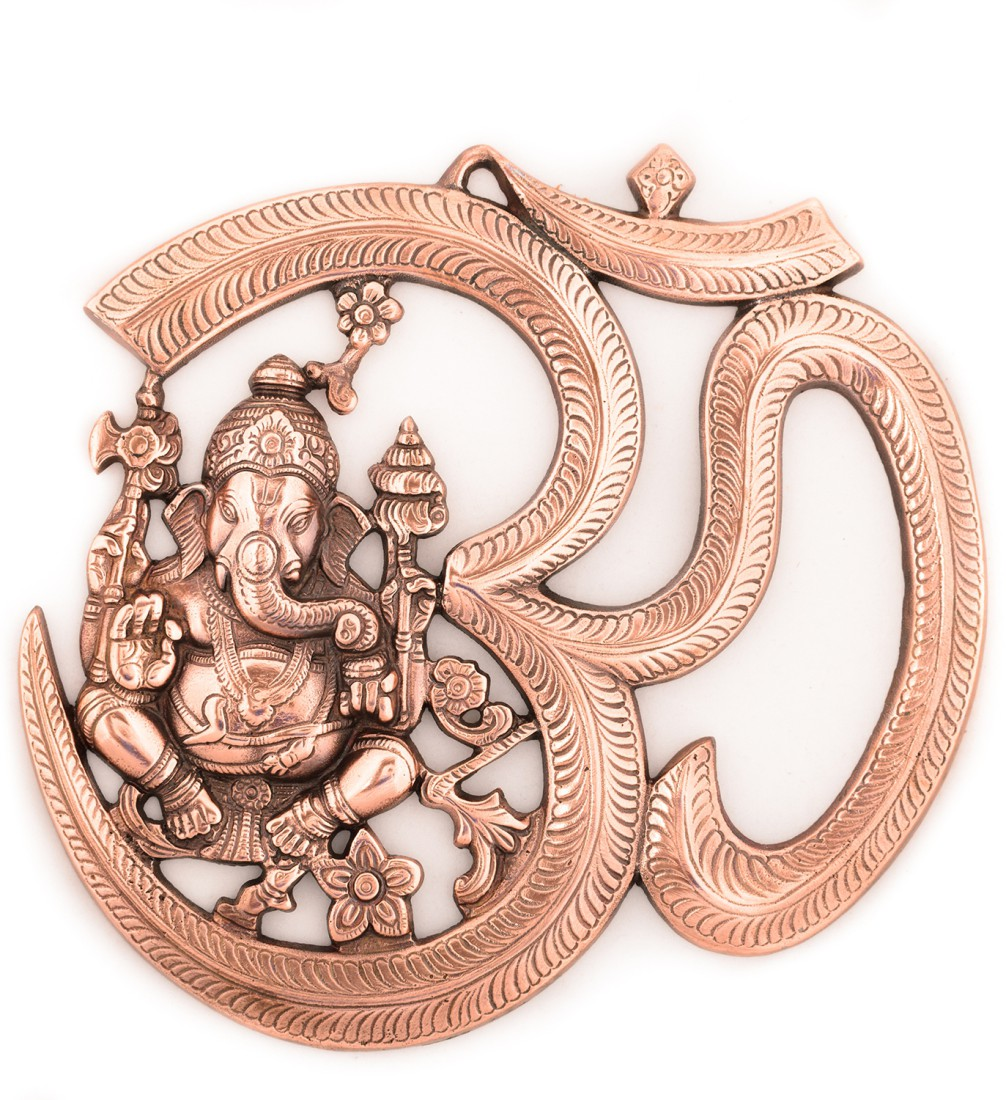 Metal wall hanging of Lord Ganesha with Om Indian Home Decor