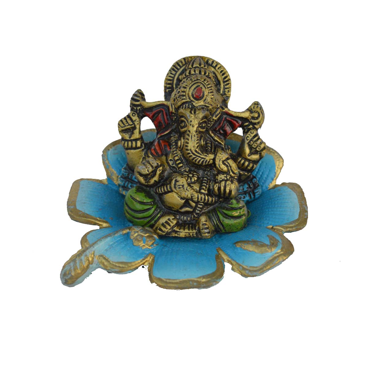 Metal Lord Ganesha Statue on Sky Blue Leaf Indian Home Decor