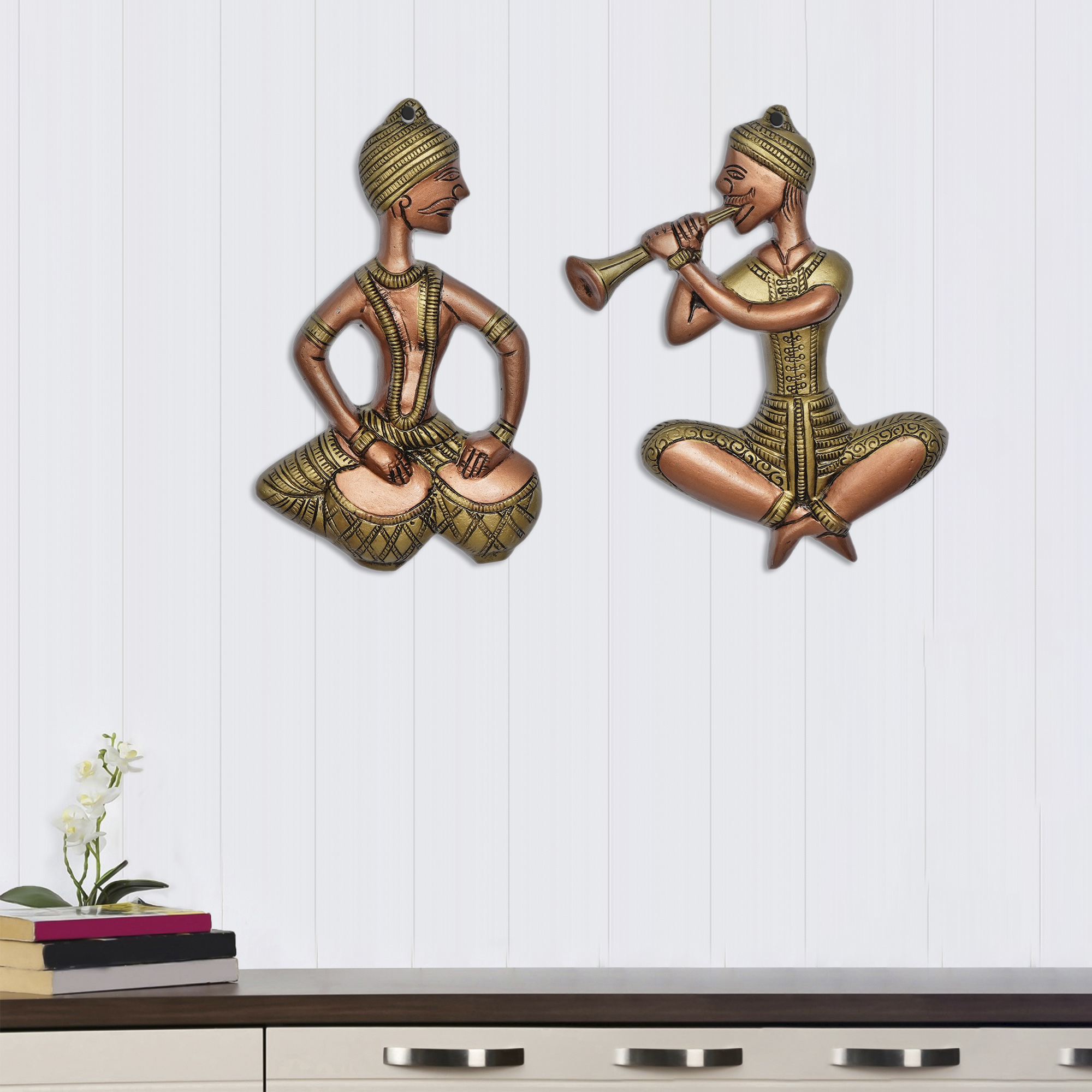 Set of 2 Musicians Brown and Golden Color Metal Wall Hanging Indian Home Decor