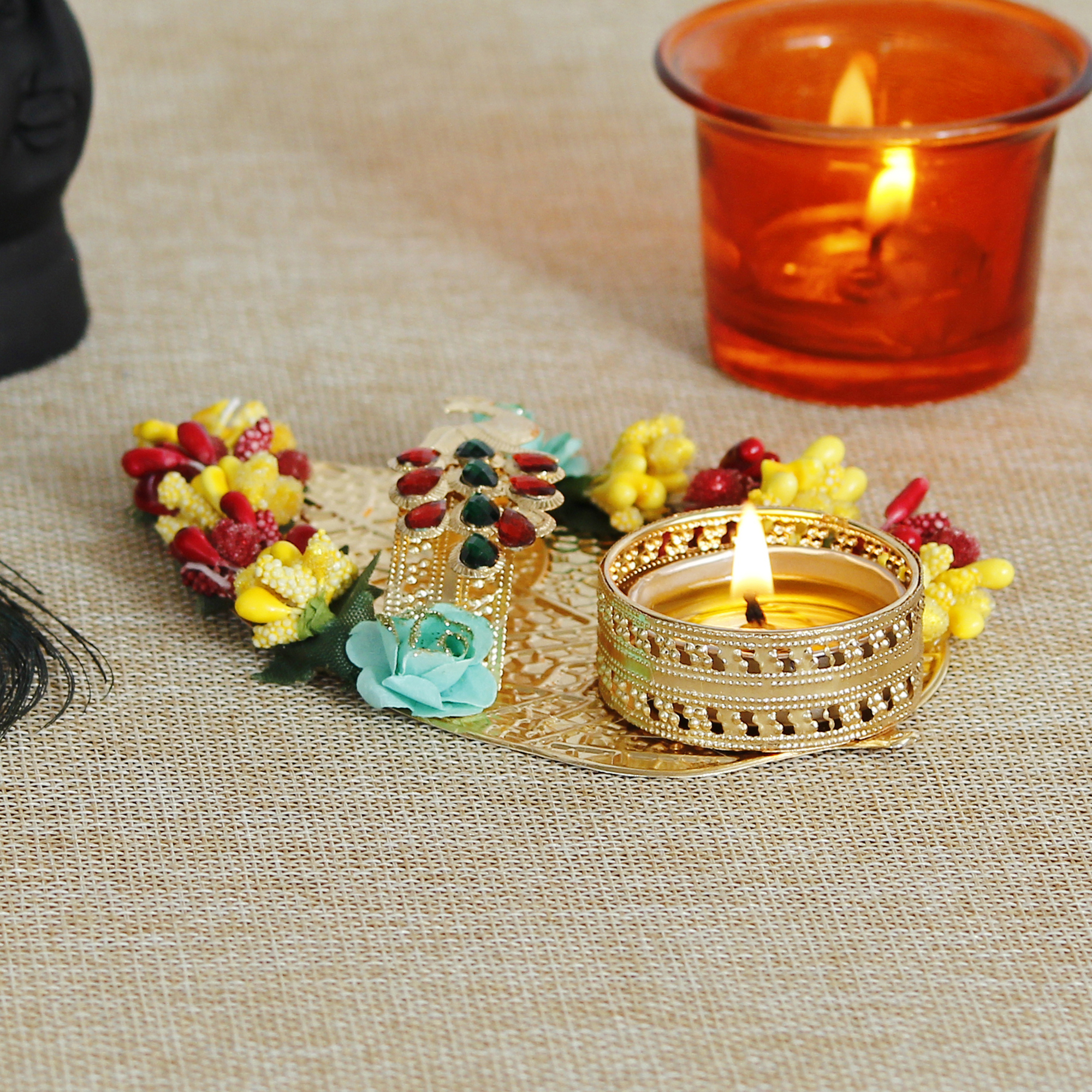 Decorative Handcrafted Yellow and Red Floral Leaf Shape Tea Light Holder Indian Home Decor