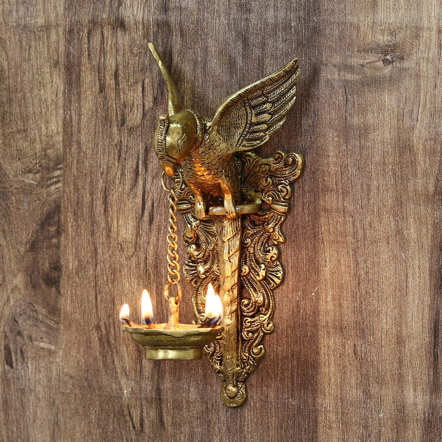 Decorative Handcrafted Brass Bird Wall Hanging with Diya for 5 wicks Indian Home Decor