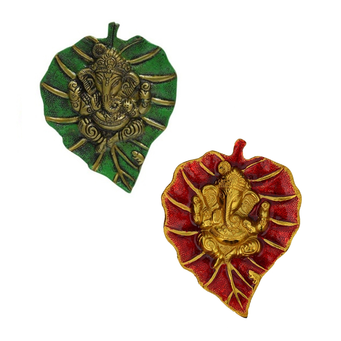 Combo of Lord Ganesha on Green and Red Leaf Indian Home Decor