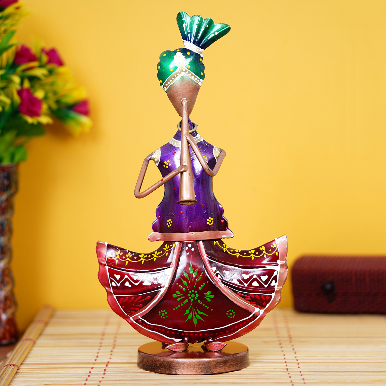 Tribal Lady Playing Musical Instrument Trumpet Decorative Showpiece Indian Home Decor