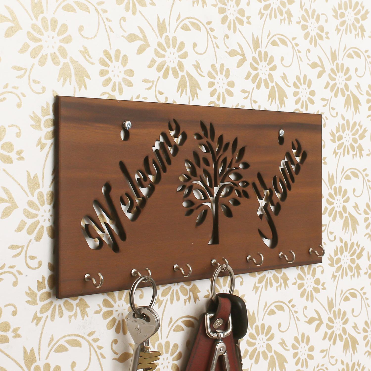 Welcome Home Theme Wooden Key Holder with 7 Hooks Indian Home Decor