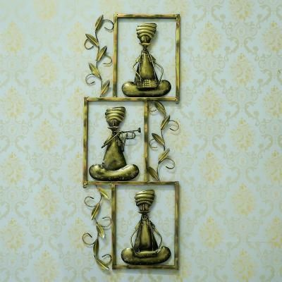 Set of 3 Tribal Musicians Playing Different Musical Instruments Iron Wall Hanging Indian Home Decor