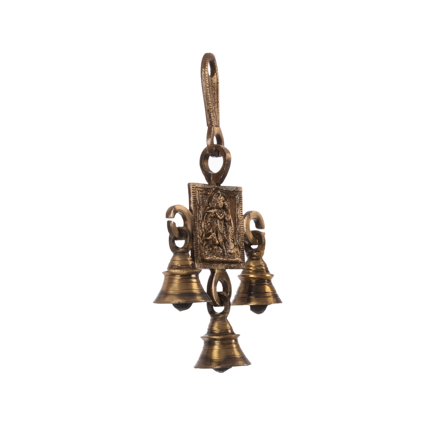 Radha Krishna Brass Hanging Bells Indian Home Decor