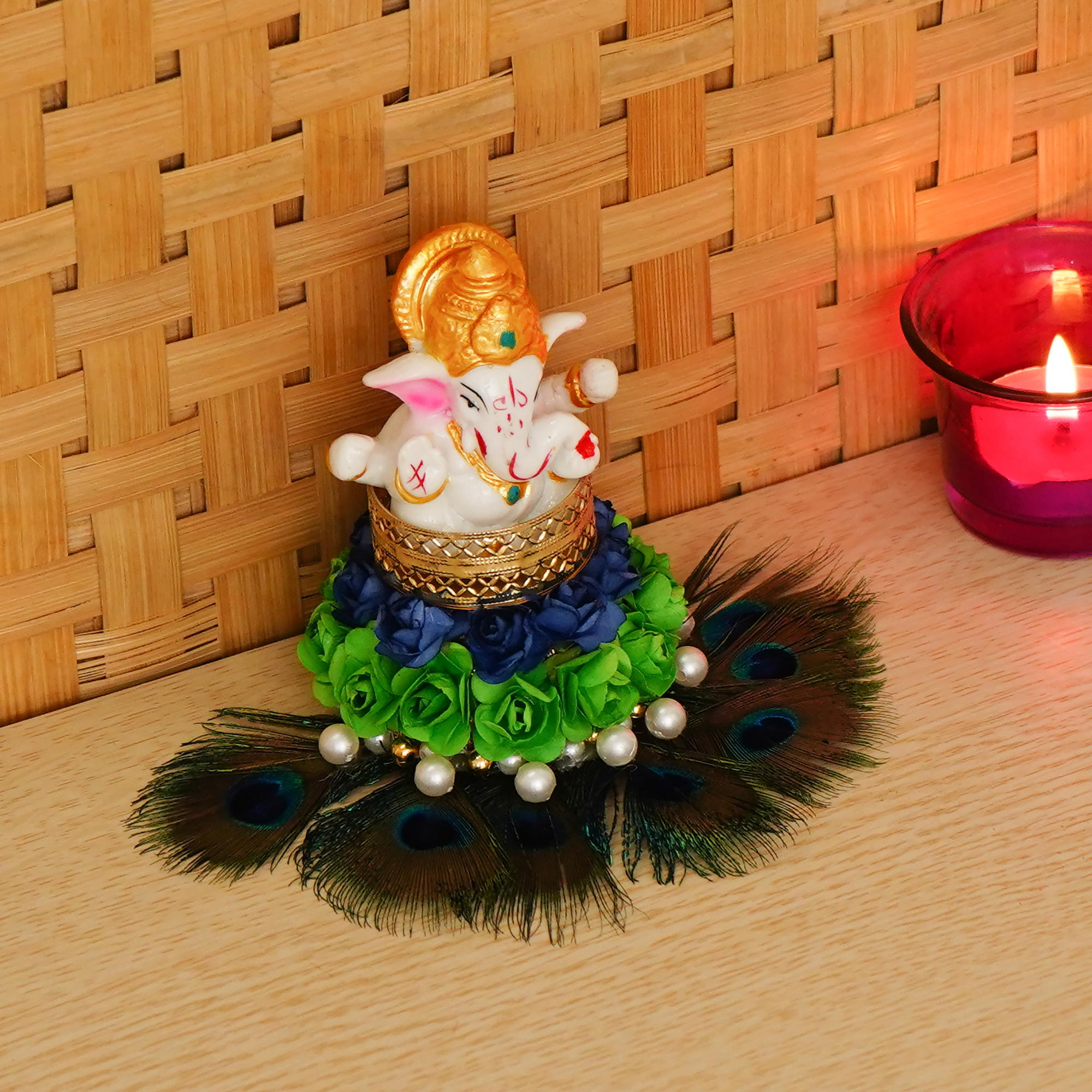 Lord Ganesha Idol on Decorative Handcrafted Floral Plate with Peocock Feather for Home and Car Indian Home Decor