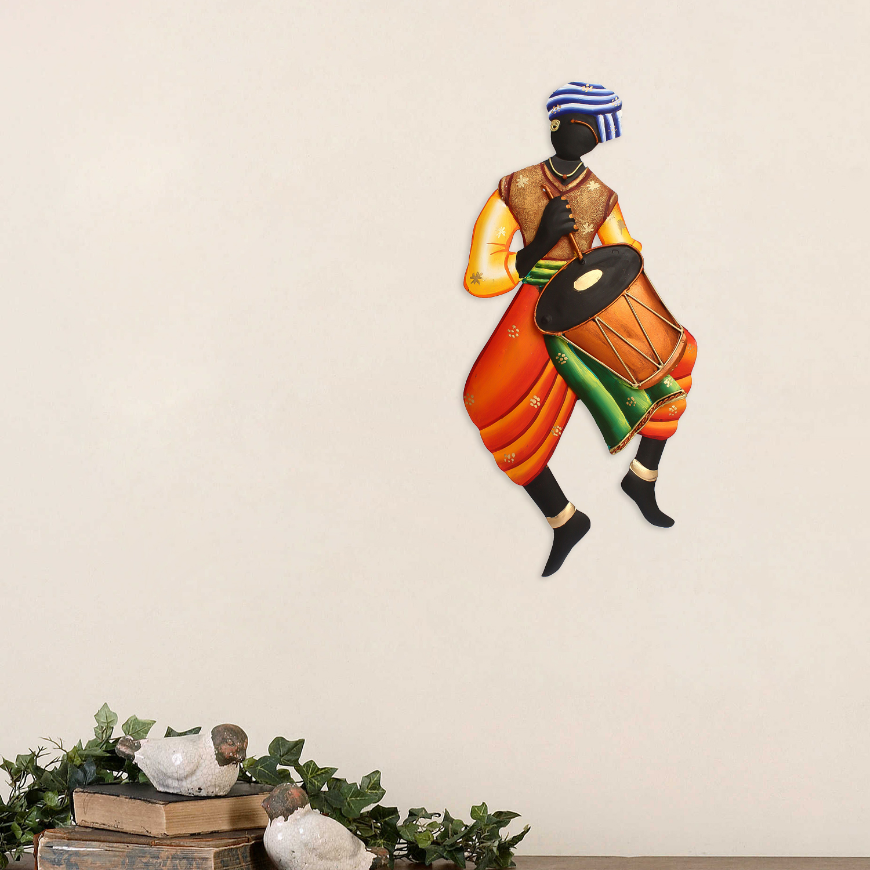 Musician Tribal Man Iron Wall Hanging Indian Home Decor