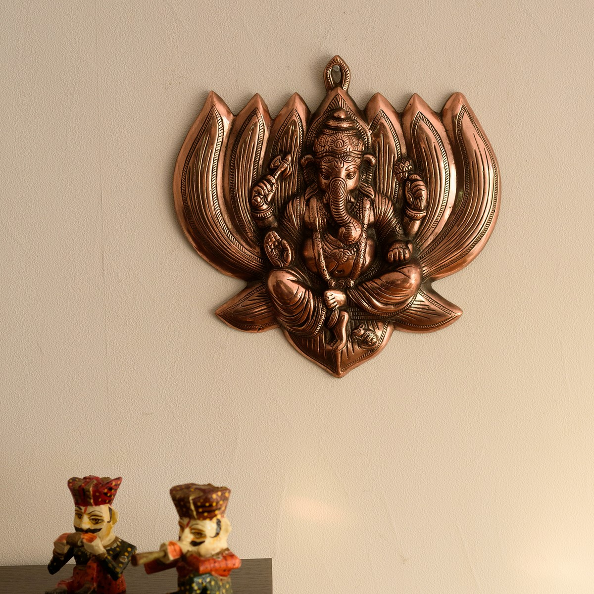 Lord Ganesha on Lotus Metal Wall Hanging Indian Home Decor