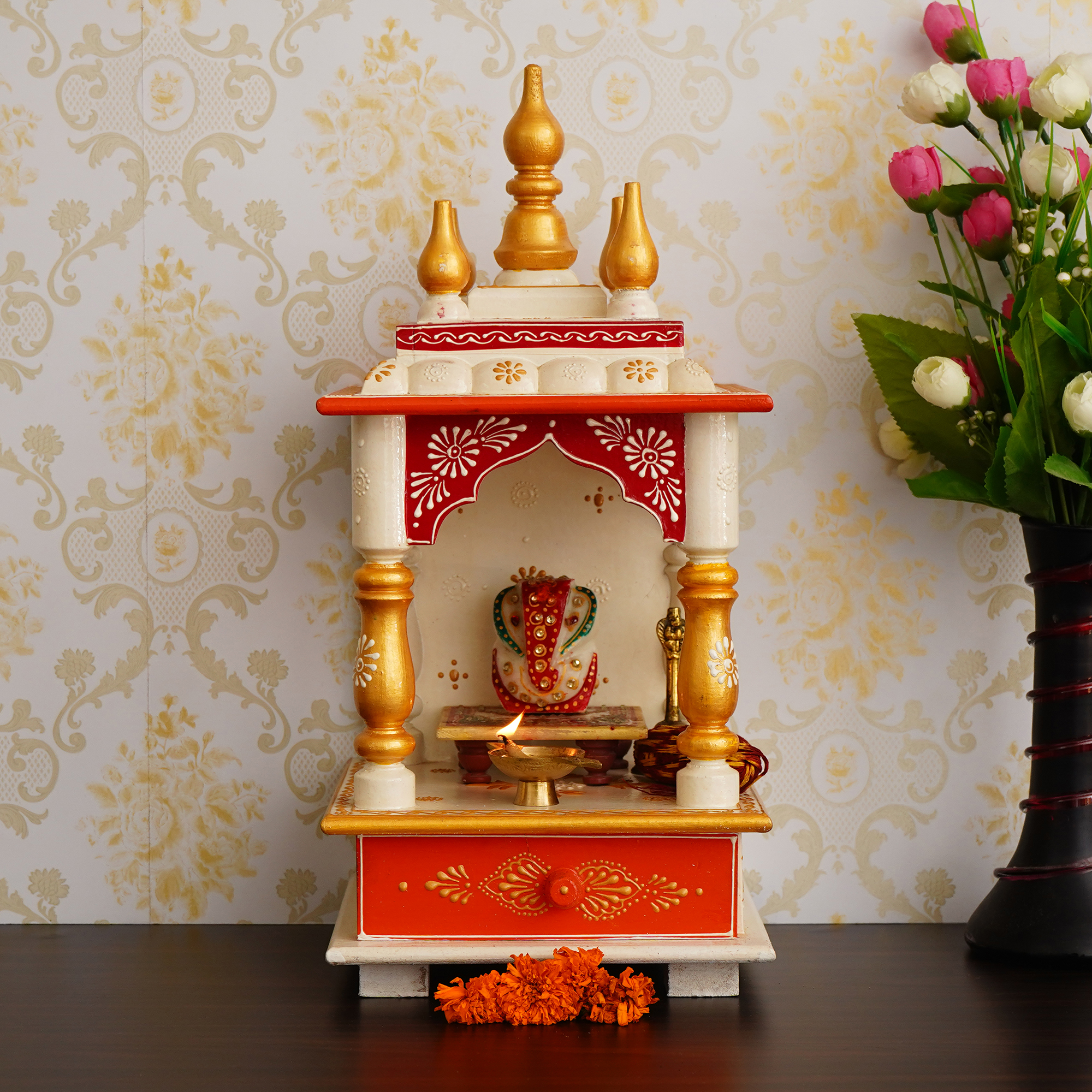 White, Red and Golden Mango Wood Pooja Temple/Mandir with Storage Option Indian Home Decor