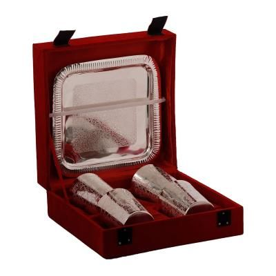 German Silver 4 Glass Set with Velvet Box Indian Home Decor