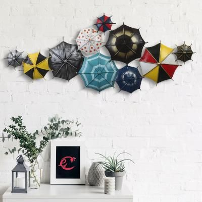 Set of Colorful Handcrafted Umbrellas Iron Wall Hanging Indian Home Decor