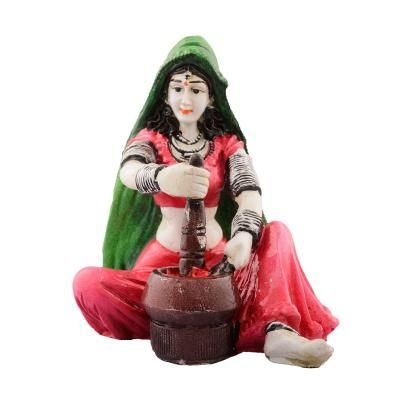 Polyresin Rajasthani Lady Grinding Chilli Showpiece Indian Home Decor