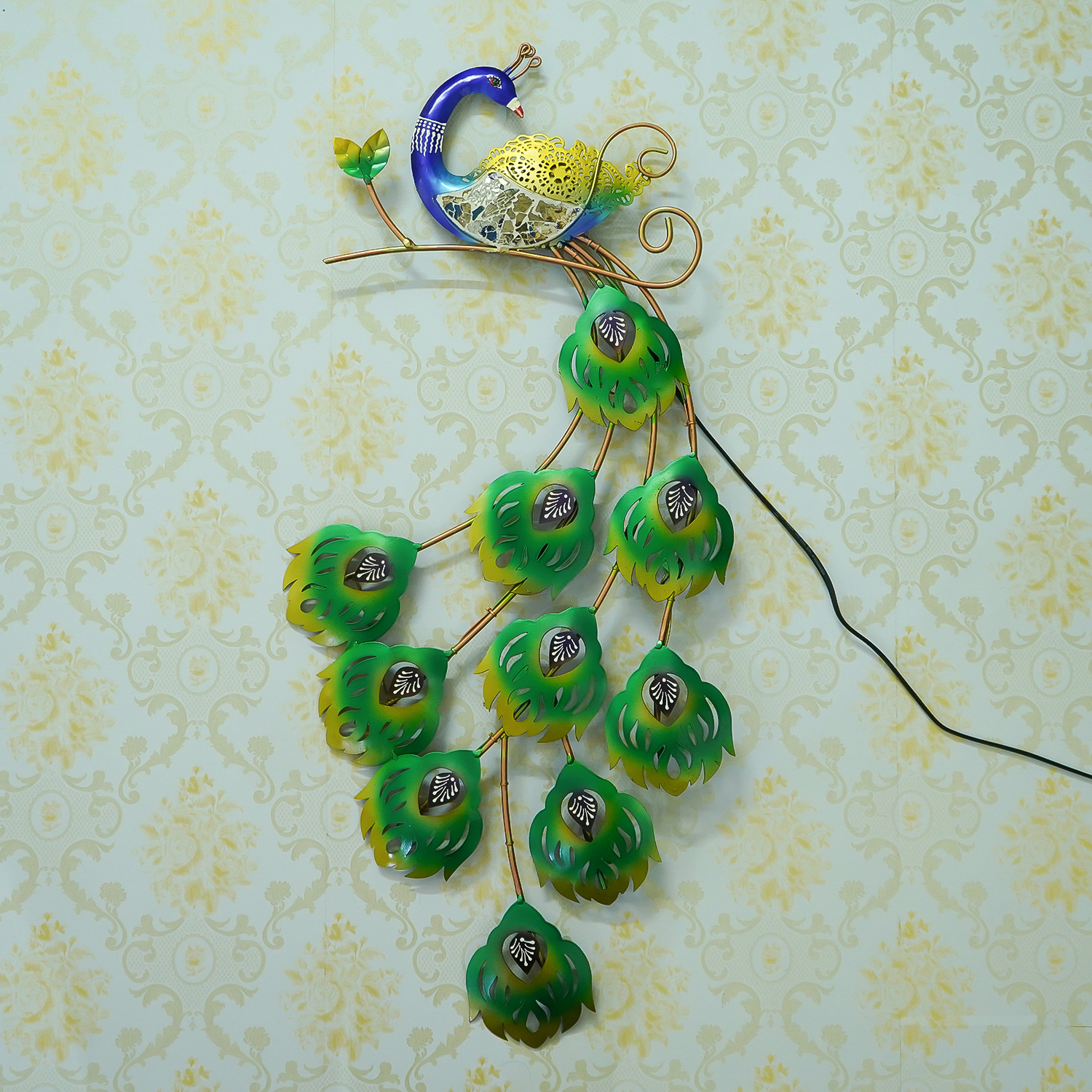 Colorful Dancing Peocock Handcrafted Iron Wall Hanging with background LEDs Indian Home Decor